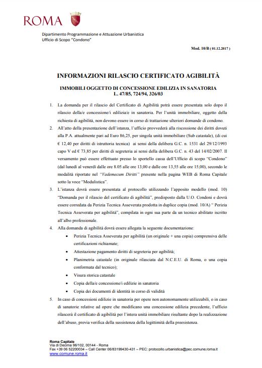 Rilascio Certificato di Agibilità a Roma
